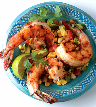 CHIPOTLE CHILE RUBBED SHRIMP WITH AVOCADO CORN CHUTNEY picture